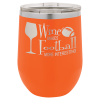 Double Wall Insulated Stainless Steel Stemless Wine Glass -Orange  Promotional Mugs