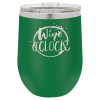 Double Wall Insulated Stainless Steel Stemless Wine Glass -Green Promotional Mugs