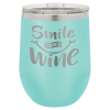Double Wall Insulated Stainless Steel Stemless Wine Glass -Teal Promotional Mugs