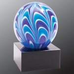 2 Tone Blue/White Sphere Art Glass Artistic Glass Awards