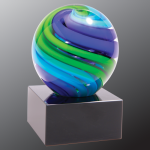2 Tone Blue/Green Sphere Art Glass Artistic Glass Awards