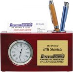 High Gloss Rosewood Desk Clock and Card Holder Business Card Holders