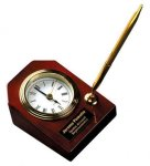 Piano Finish Rosewood Desk Clock with Pen Desk Clocks