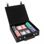 Leatherette Poker Gift Set -Black/Silver Game Gifts