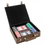 Leatherette Poker Gift Set -Rustic/Gold Game Gifts