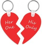 Aluminum 2-Piece Heart Keychain Key Rings