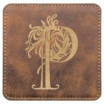 Leatherette Square Coaster -Rustic/Gold Kitchen Gifts