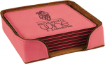 Leatherette Square Coaster Set -Pink Kitchen Gifts