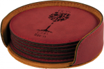 Leatherette Round Coaster Set -Rose' Kitchen Gifts