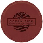 Leatherette Round Coaster -Rose' Kitchen Gifts