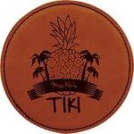 Leatherette Round Coaster -Rawhide Kitchen Gifts