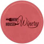 Leatherette Round Coaster -Pink Kitchen Gifts