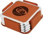 Leatherette Square Coaster Set with Silver Edge -Rawhide Kitchen Gifts