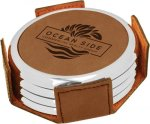 Leatherette Round Coaster Set with Silver Edge -Dark Brown  Kitchen Gifts