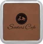 Leatherette Square Coaster with Silver Edge -Dark Brown Kitchen Gifts