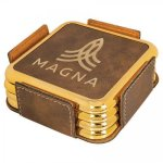 Leatherette Square Coaster Set with Gold Edge -Rustic/Gold Kitchen Gifts