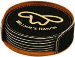 Black Round Leatherette Coaster Set Misc. Gift Awards