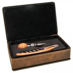 Leatherette 2 Piece Wine Tool Set -Rustic/Gold Misc. Gift Awards
