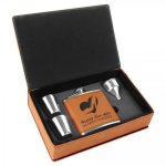 Leatherette Flask Set -Rawhide Misc. Gift Awards