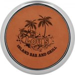 Leatherette Round Coaster with Silver Edge -Rawhide  Misc. Gift Awards