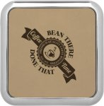 Leatherette Square Coaster with Silver Edge -Light Brown  Misc. Gift Awards