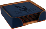 Leatherette Square Coaster Set -Blue Misc. Gift Awards