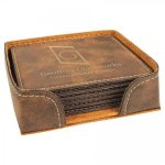 Leatherette Square Coaster Set -Rustic/Gold Misc. Gift Awards