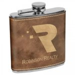 Leatherette Flask -Rustic/Gold Misc. Gift Awards