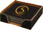 Black Square Leatherette Coaster Set Misc. Gift Awards