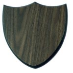 Three Point Walnut Finish Shield Plaque Shield Plaques